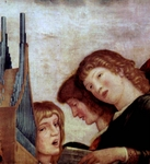 Angel Musicians (detail of Madonna altarpiece).  Mantegna, Andrea, 1431-1506  Click to enter image viewer  Use the Save buttons below to save any of the available image sizes to your computer.