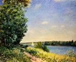 Normandy - Path on the Water.  Sisley, Alfred, 1839-1899  Click to enter image viewer  Use the Save buttons below to save any of the available image sizes to your computer.