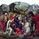 Raising of Lazarus.  Van Leyden, Aertgen  Click to enter image viewer  Use the Save buttons below to save any of the available image sizes to your computer.