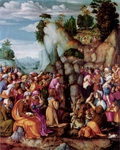 Moses Striking the Rock and Bringing Forth the Water.  Bachiacca, 1494-1557  Click to enter image viewer  Use the Save buttons below to save any of the available image sizes to your computer.
