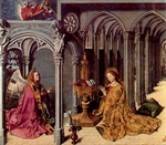 Annunciation, center panel of altarpiece with Isaiah and Jeremiah.  Eyck, Barthélemy d', d. ca. 1476  Click to enter image viewer  Use the Save buttons below to save any of the available image sizes to your computer.