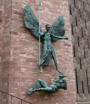Coventry Cathedral - Archangel Michael and the Devil.  Epstein, Jacob, Sir, 1880-1959  Click to enter image viewer  Use the Save buttons below to save any of the available image sizes to your computer.
