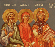 Icon of Abraham, Sarah, and Moses.  Shkolnik, Dmitry, 1960-  Click to enter image viewer  Use the Save buttons below to save any of the available image sizes to your computer.