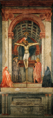 Holy Trinity.  Masaccio, 1401-1428?  Click to enter image viewer  Use the Save buttons below to save any of the available image sizes to your computer.