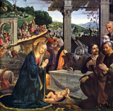 Adoration of the Child by the Shepherds.  Ghirlandaio, Domenico, 1449-1494  Click to enter image viewer  Use the Save buttons below to save any of the available image sizes to your computer.