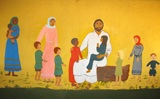 Jesus Welcomes All.  Unidentified Sudanese artist  Click to enter image viewer  Use the Save buttons below to save any of the available image sizes to your computer.
